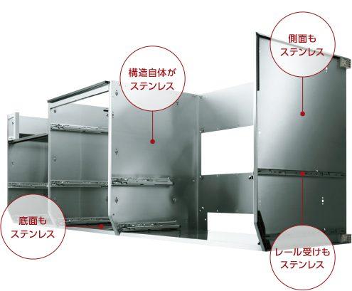 クリナップのキッチンはオールステンレスで耐久性もあるし衛生的