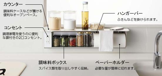 キッチンの上の調味料をキレイにしまえるハンディボックス
