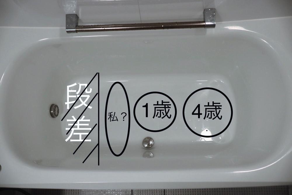 段差があるベンチタイプ浴槽だと、段差がジャマで大人はお風呂に入れない